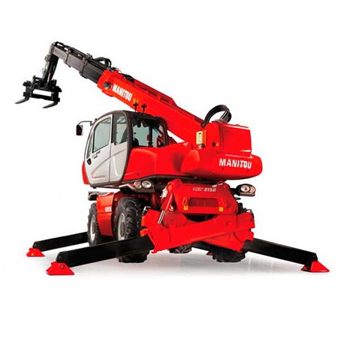 Picture showing the back end of a Manitou MRT Rotating Tele-handler