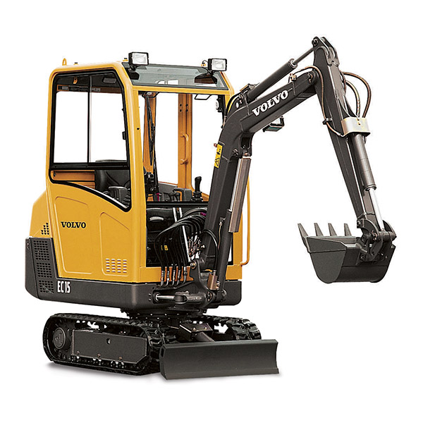 Picture showing a stationary Volvo Excavator