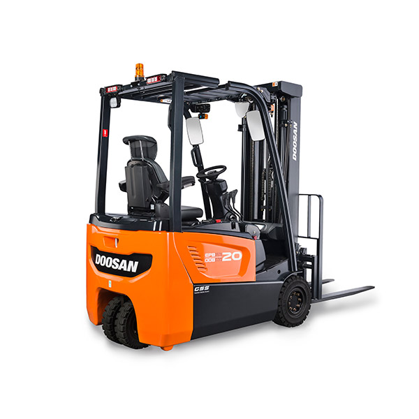 Picture showing a rear view of a Doosan Electric Truck
