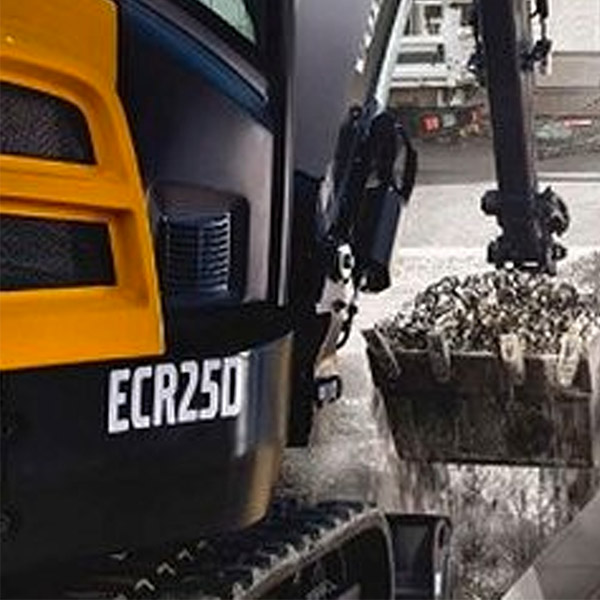 Picture showing close-up of Volvo Mini Excavator exterior