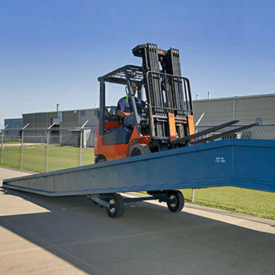 Picture showing a loading ramp being used by a forklift truck