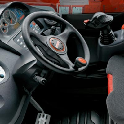 Picture showing the interior of a Manitou MT Truck
