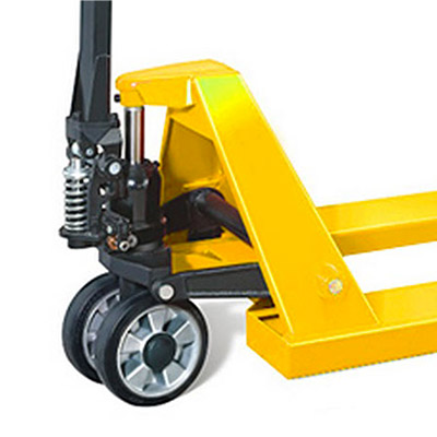 A picture shoiwng the a close-up of the wheel and 'pump-action' spring on a Pallet Truck