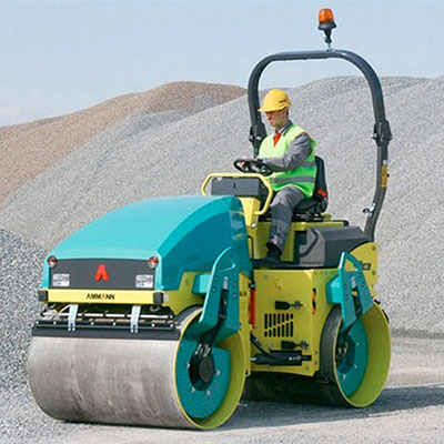 Picture showing an Ammann Roller being operated on a construction site